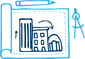 An illustration of blueprints