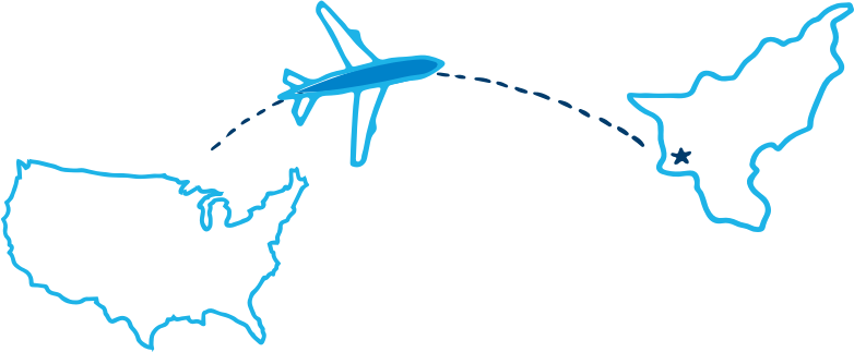 Illustration of a flight from U.S.A. to Pakistan.