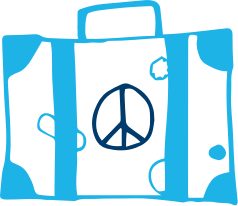 An illustration of a suitcase with a peace sign.