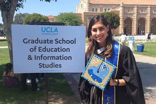 woman celebrating at UCLA graduation