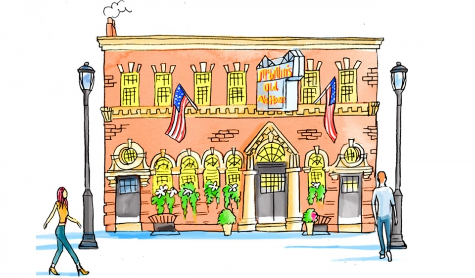 An illustration of a pub