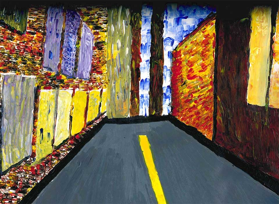 painting of road with buildings