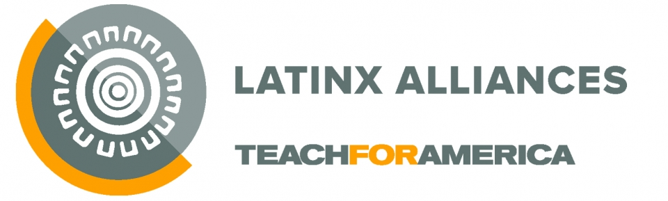 "A rectangular logo with a white background, an abstract image, and text reading ""Latinx Alliances."""