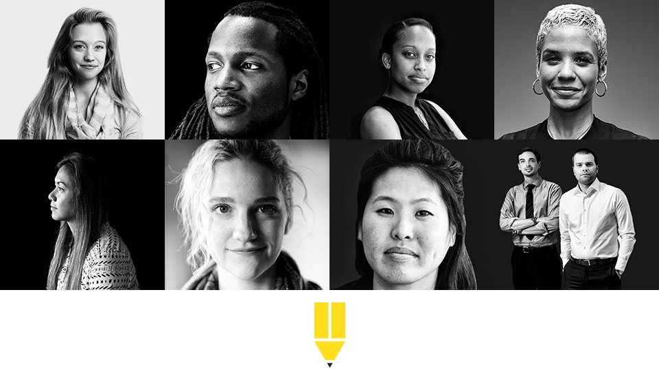 A collage of black-and-white photos of faces of Teach For America corps members and alumni.
