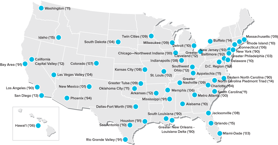 A map of the U.S. showing the 53 regions where corps members serve.
