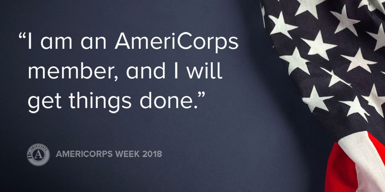 "An American flag with the text, ""I am an AmeriCorp member, and I will get things done."""