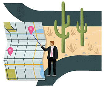 An illustration of a man pointing at a map