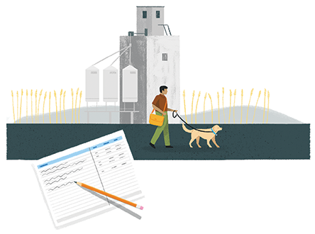 An illustration of a man walking his dog in the street and a notebook