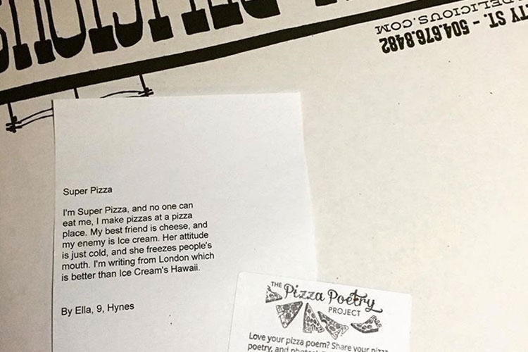Student poem printed on top of a pizza box.
