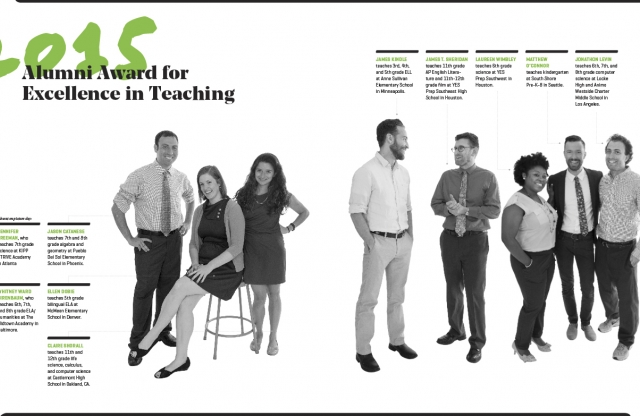 A two-page spread with a white background, featuring black-and white shots of the 2015 Alumni Award winners, and small black text.
