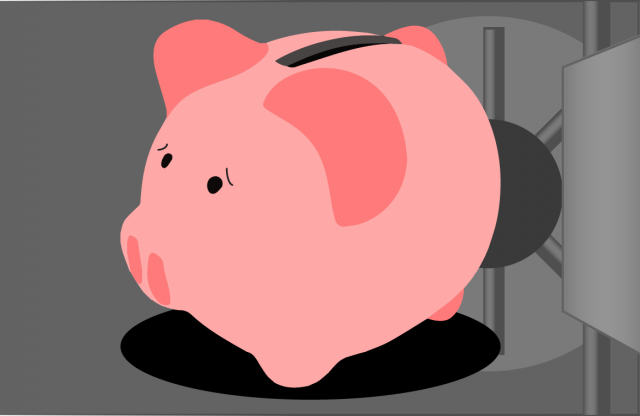 A cartoon of a piggy bank inside a gray safe.