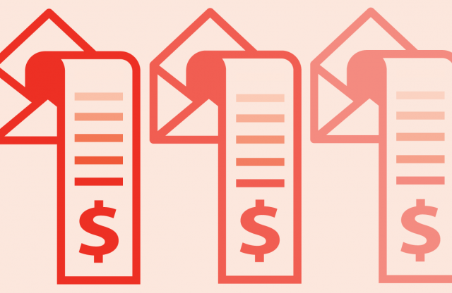 Illustration of three envelopes with receipts