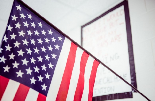 Flag in the classroom.