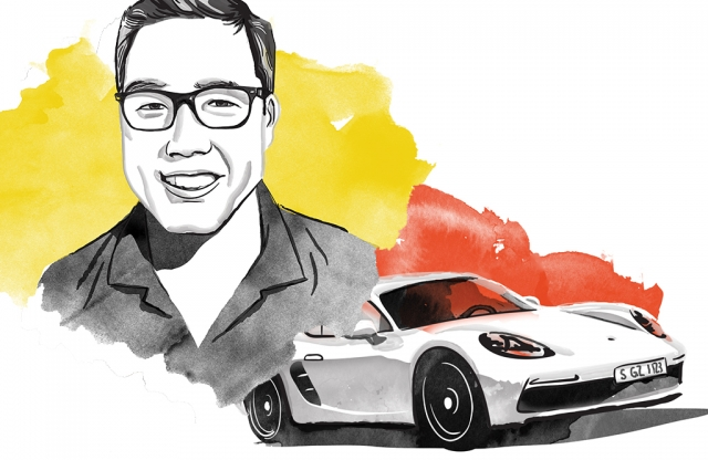 A watercolor of a man and a porche