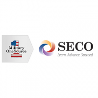 "A rectangular logo with a white background, with a gray arrow on the left with a number 1 as an American flag and black text reading ""Military One Source,"" and on the right a rainbow circle and black text reading ""SECO, Learn. Advance.Succeed."""