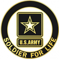 "A circular logo with a black band, a yellow outline, and yellow text reading ""Soldier for Life,"" with an army star in white inside a black box in the center, as well as a small black rectangle with the text ""U.S. Army"" in yellow."