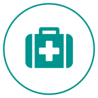 A circular logo with a white background and a blue-green border, featuring a stylized first aid kit with a cross on it.