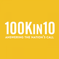 "A square logo with a dark yellow background and white text reading ""100K in 10 Answering the Nation's Call."""
