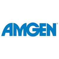 "A rectangular logo with a white background featuring blue text reading ""Amgen."""