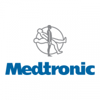 "A square logo with a white background, featuring a silhouette of a man rotating around a black circle, and blue text reading ""Medtronic""."