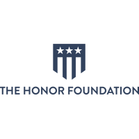 "A rectangular logo with a white background, a blue shield with a US flag motif, and blue text reading ""the honor foundation."""