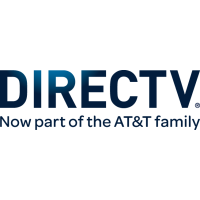 "A rectangular logo with a white background and blue text reading ""DirecTV, now part of the AT&T family."""