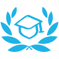 A square logo with a white background featuring a blue mortarboard cap inside a blue laurel.