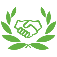 A square logo with a white background featuring a green pair of hands shaking inside a green laurel.