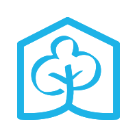 A square logo with a white background featuring a blue tree inside a blue hexagon.