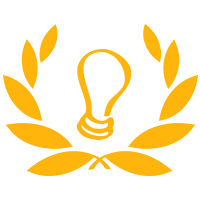 A square logo with a white background featuring a yellow light bulb inside yellow laurels.