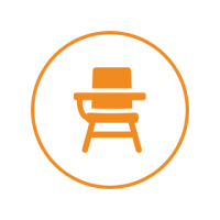 Orange and white circle icon, with an orange student chair and desk in the center.