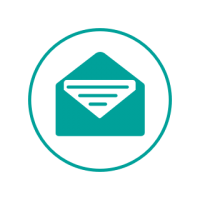 Turquoise and white circle icon, with a turquoise envelope and letter in the middle.