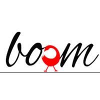 "Company logo that reads ""BOOM"" in black graphic font, with the second O in red, with stick figure legs."