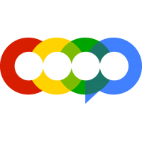 Company logo with four adjacent circles in red, yellow, green, and blue.