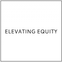 "Company logo that simply reads ""Elevating Equity"" in black font and has a square white background."