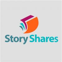 "Company logo with grey background and ""Story Shares"" written in bold blue font, with orange, purple, and blue book pages over the words."