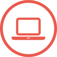 A red icon showing a computer