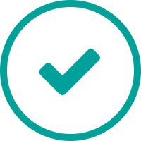 A teal icon showing a checkmark.