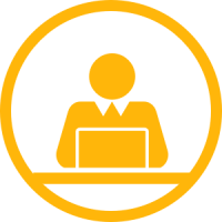 An yellow icon showing a person working on a laptop.