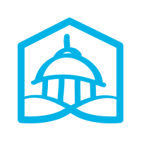 A square logo with a white background featuring a stylized Capitol Building in blue under part of a blue hexagon.