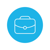 Bright blue circle icon with outline of a briefcase inside