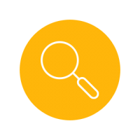 Bright yellow circle icon with magnify glass