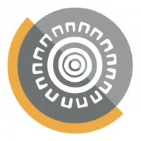 Logo showing a grey circle with a white shape in the middle
