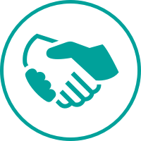 A teal icon of a hand shake.
