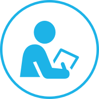 An blue icon of a person writing on a piece of paper.