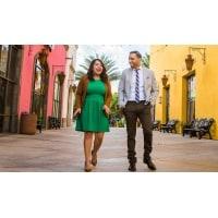 A man and woman walk
