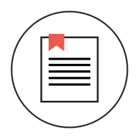 A circular icon with a document and red ribbon