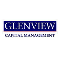 "A rectangular logo with a white background featuring the word ""Glenview"" in white text over a dark blue rectangle, and the words ""Capital Management"" below in blue text."