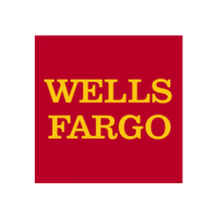 "A square logo with a red background and yellow text reading ""Wells Fargo."""