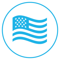 A circular logo with a light blue border and white background, featuring a light blue American flag waving.